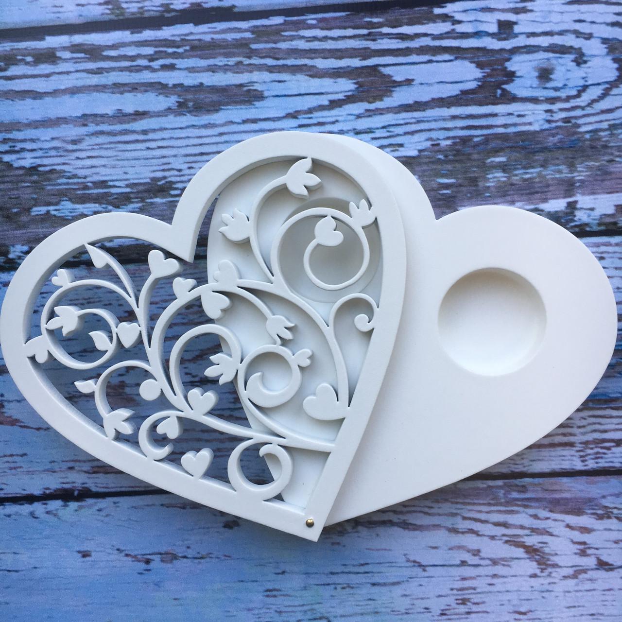 Хит! Свадебная Шкатулочка для Обручальных Колец с винтовым узором 11,5х12х1,8 см №103, Белая