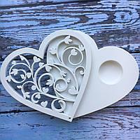 Хит! Свадебная Шкатулочка для Обручальных Колец с винтовым узором 11,5х12х1,8 см №103, Белая, фото 1