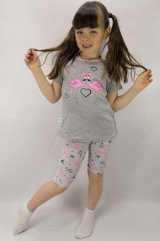 Футболка и трессы Фламинго на девочку