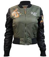 Оригінальний жіночий бомбер Miss Top Gun The Flying Legend Jacket TGJ1678 (Olive), фото 1