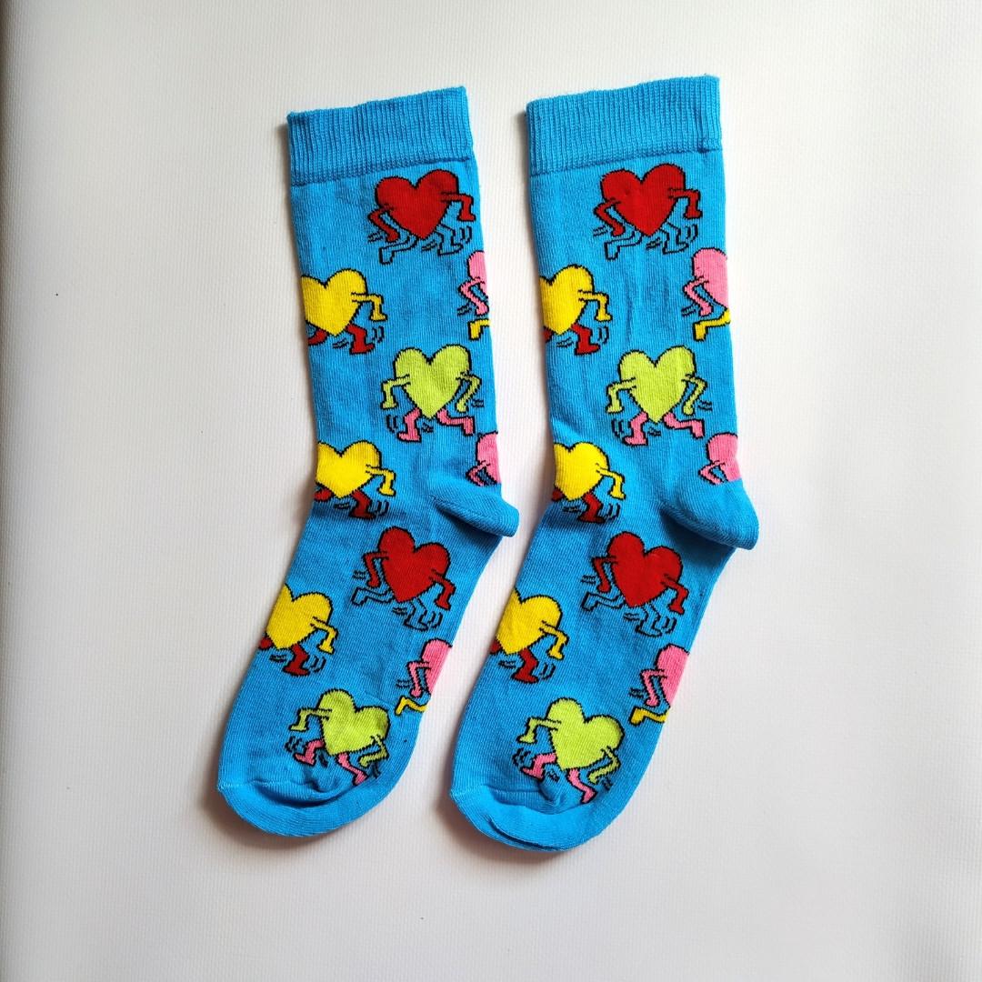 Носки высокие с принтом Сердце с ногами и руками размер 37-43