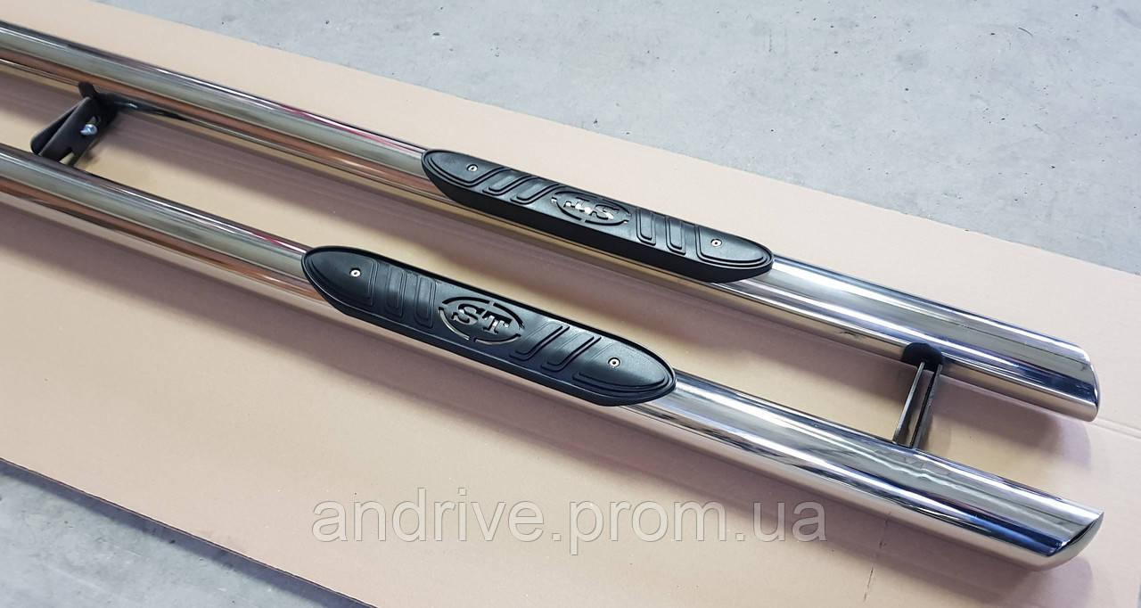 Пороги боковые (подножки-трубы с накладками) Kia Soul 2008-2013 (Ø60)