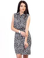 Леопардовое женское платье маленького размера с воротником размер 42