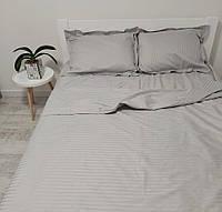Комплект постільної білизни зі страйп сатину двоспальний сірого кольору