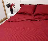 Комплект постільної білизни зі страйп сатину двоспальний червоного кольору