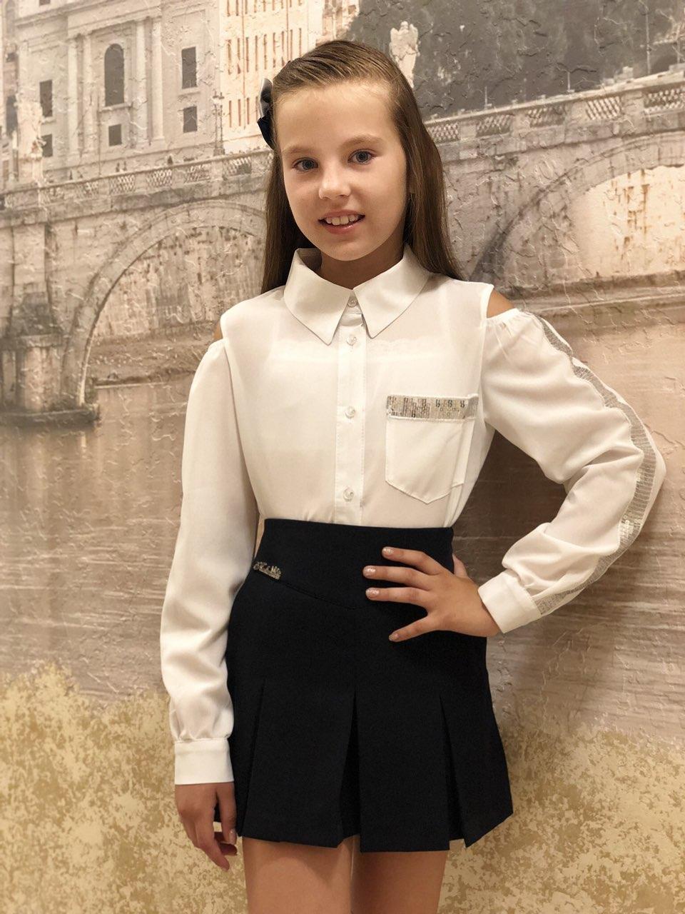 Блузка для девочки Лампас -пайетка 19(белый)