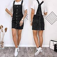 Женский стильный джинсовый сарафан с карманами, фото 1
