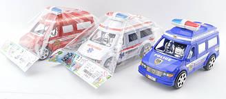 """Машина інерційна 2638-12 (192шт/2) """"Пожежна, Поліція, Швидка допомога"""", 3 види, у пакеті 19*7*9 см"""