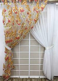 Комплект тюлей Македония №4 (2шт 300*270см и подхваты)