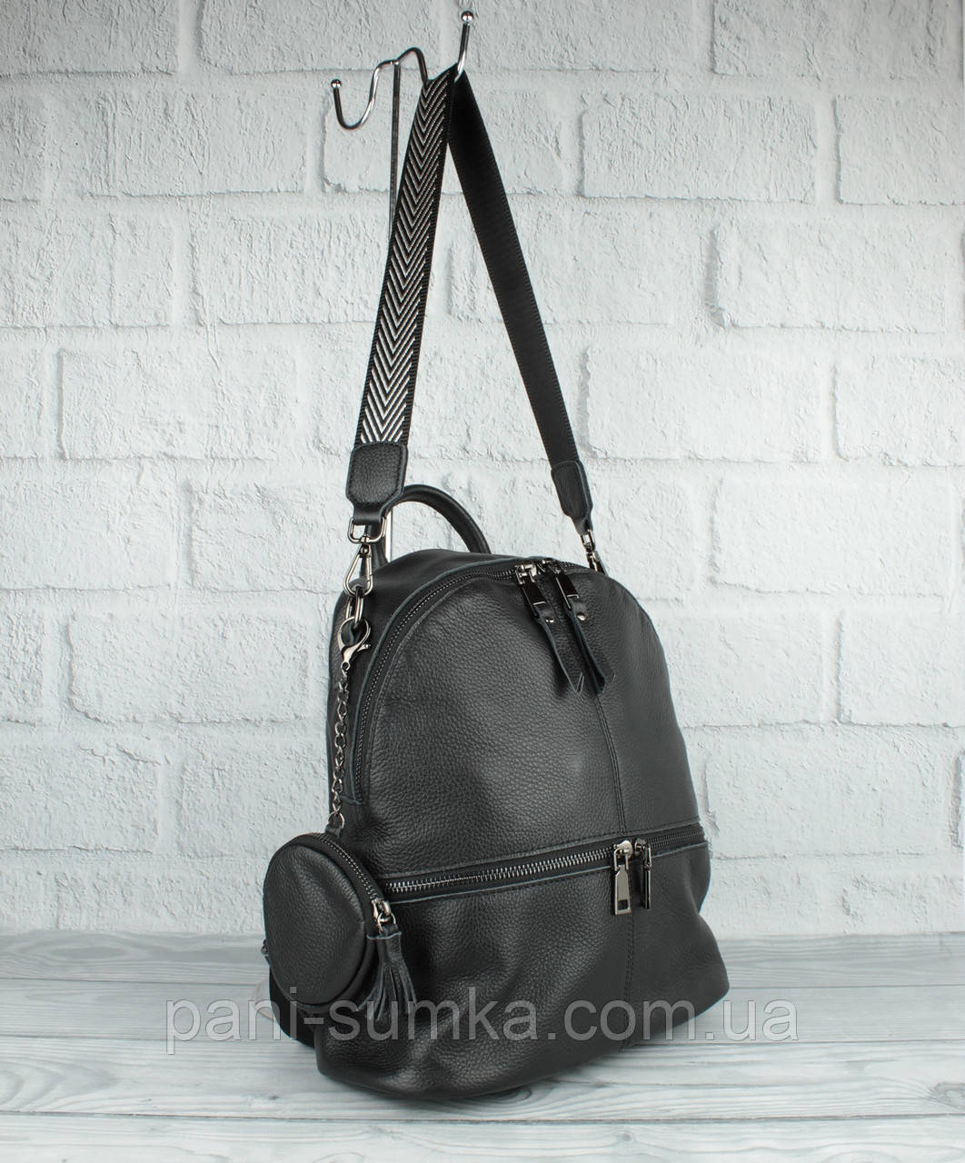 Кожаный рюкзак-сумка Farfalla Rosso 6-582 черный с кошельком