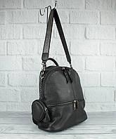 Кожаный рюкзак-сумка Farfalla Rosso 6-582 черный с кошельком, фото 1