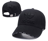 Полностью черная хлопковая бейсболка с вышивкой Adidas (реплика)
