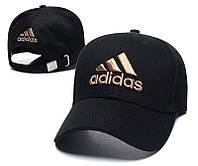 Крутая летняя черная шестиклинка с золотистым лого Adidas (реплика)