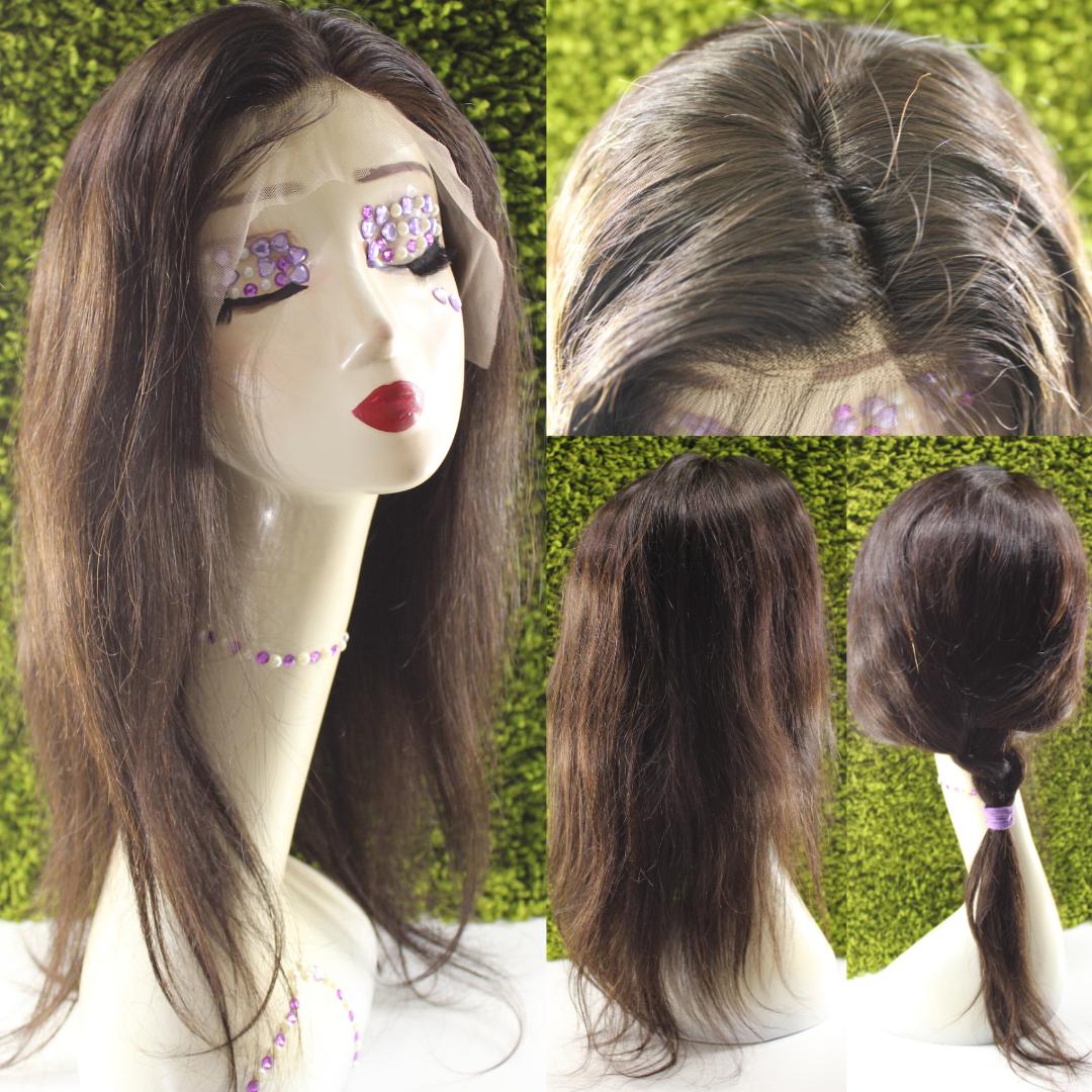 Парик натуральный темно-коричневый на сетке с имитацией кожи головы
