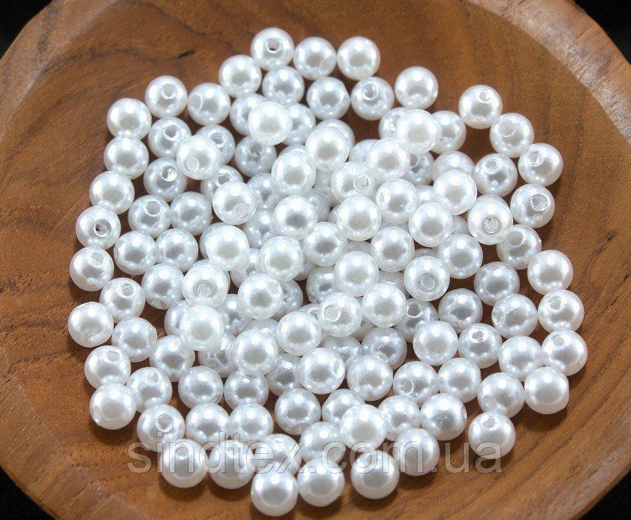 "(20 грамм) Жемчуг бусины пластик Ø6мм ""SOHHI""  (170-190шт) Цвет - Белый (сп7нг-0857)"