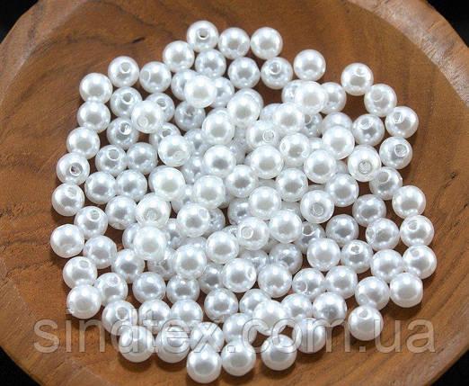 "(20 грамм) Жемчуг бусины пластик Ø6мм ""SOHHI""  (170-190шт) Цвет - Белый (сп7нг-0857), фото 2"