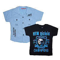 Рубашка для мальчика 1-4 года (80-104) 7025 +футболка                                               , фото 1