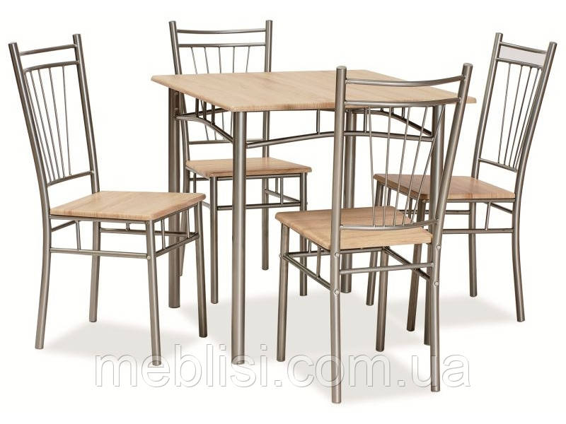 Столовый комплект FIT дуб сонома (стол+4 кресла) (Signal)