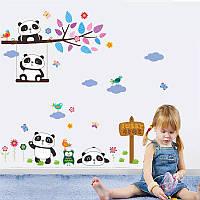 """Декоративные наклейки для детского сада, наклейка в детскую, на шкаф """"четыре панды"""" 65*90см (лист 90*30см)"""