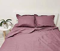 Комплект постільної білизни зі страйп сатину розмір Євро стандарт колір попеляста троянда