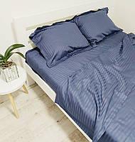 Комплект постільної білизни зі страйп сатину полуторний синього кольору