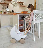 Деревянная коляска-луна для кукол Moon White с постелькой для кукол