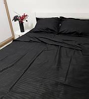 Комплект постільної білизни зі страйп сатину двоспальний чорного кольору