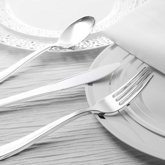 Ложка пластиковая столовая серебро 12 шт 175 мм оптом от производителя  для ресторанов, horeca CFP.