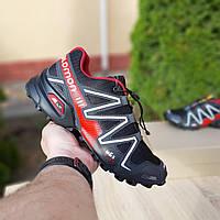 Salomon SPEEDCROSS 3 чёрные с красным кроссовки мужские саломон