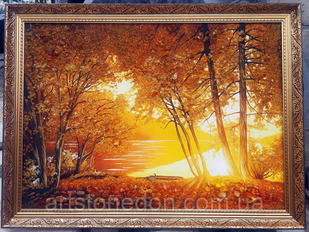 Картина из янтаря Осень 80*60 см