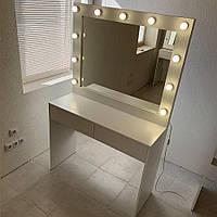 Туалетный столик + гримерное зеркало с подсветкой лампочками для визажиста 100х90 см, на 2 шухляды