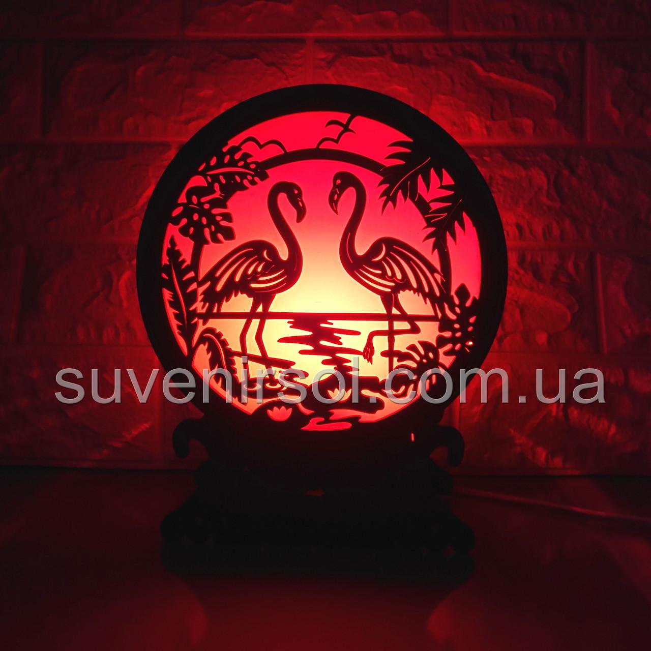 Соляной светильник Шар 12 Фламинго