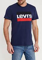 Темно синяя футболка в стиле Levis логотип принт