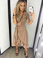 Платье летнее на запах с V-образным вырезом в горошек