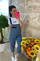 Джинсовый комбинезон женский, стильный, обьемного стиля, 211-0601