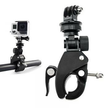 Крепление струбцина Крабик + переходник для разъема GoPro на трубы диаметром 2 - 3,8 см