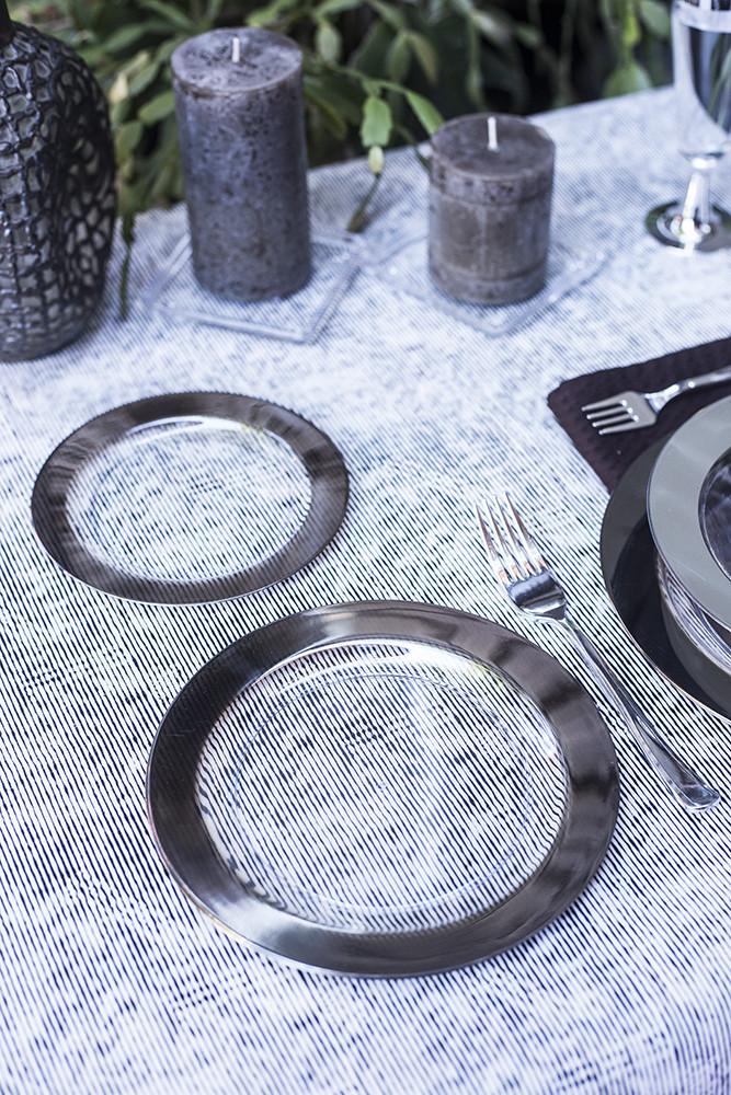 Тарелки одноразовые 6 шт 190 мм плотные прозрачные с серебром для фуршета и кейтеринга Capital For People