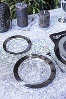 Тарелки одноразовые 6 шт 190 мм плотные прозрачные с серебром для фуршета и кейтеринга Capital For People, фото 1