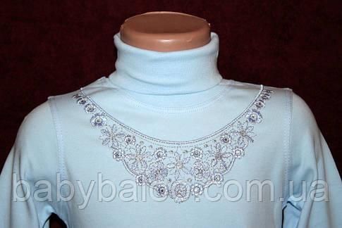 """Гольф девочка вышивка+стразы""""Ожерелье""""( рост от 104 до 128 см)микро начёс, фото 2"""