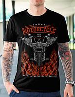 Крутая летняя мужская футболка MOTORCYCLE HOT ROAD Чоловіча байкерська футболка на подарунок