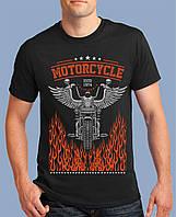Крутая мужская футболка MOTORCYCLE HOT ROAD Чоловіча байкерська футболка черная