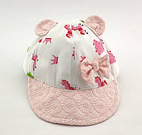 Детская кепка с 48 по 52 размер детские кепки тонкие летние с козырьком ушками для девочки, фото 1