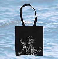 Черная эко сумка шопер со щупальцами