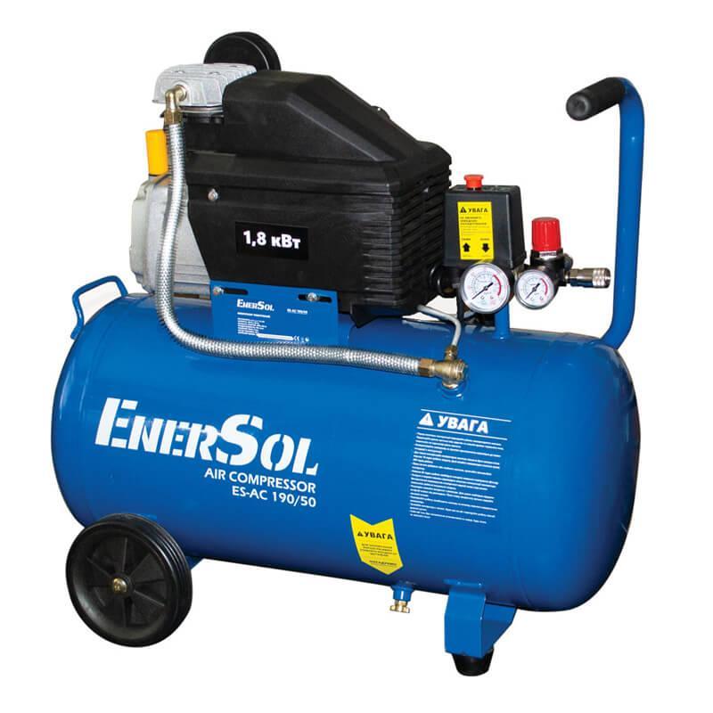 Компрессор воздушный электрический EnerSol ES-AC190-50-1, поршневой, мощность 1,8 кВт, 190 л/мин, ресивер 50л.