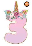 Топпери цифри Єдиноріжки | Цифри єдинороги | Топпери цифри на торт | Набір або поштучно, фото 4