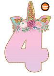 Топперы цифры Единорожки | Цифры единороги | Топперы цифры на торт | Набор или поштучно, фото 5