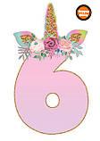 Топперы цифры Единорожки | Цифры единороги | Топперы цифры на торт | Набор или поштучно, фото 7