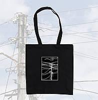 Черная эко сумка шопер с проводами