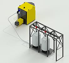 Котел промышленный, твердотопливный, пеллетный 600 кВт, с установкой подачи топлива с хранилища пеллет.