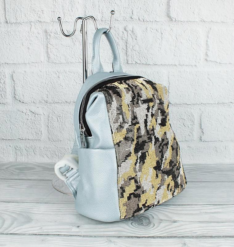 Рюкзак женский серо-голубой с камнями Velina Fabbiano 551507-20